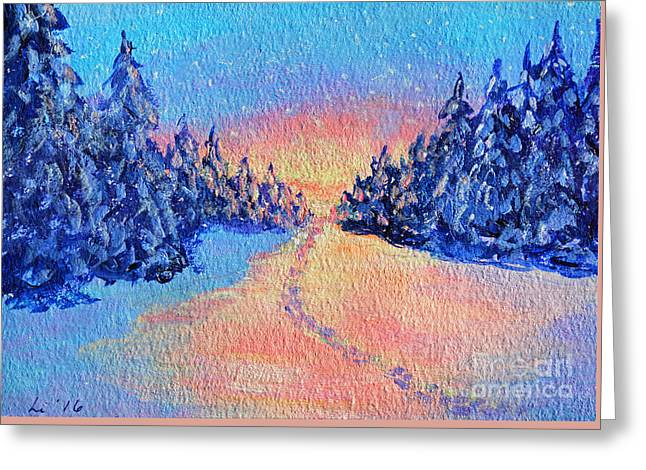 Footprints In The Snow Greeting Card by Li Newton
