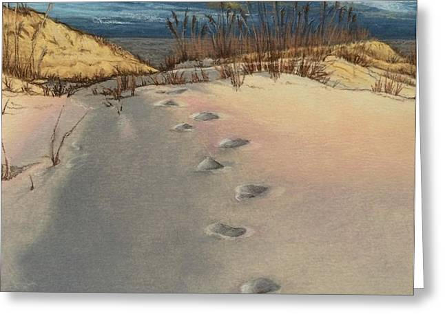 Footprints In The Snowy Dunes Greeting Card