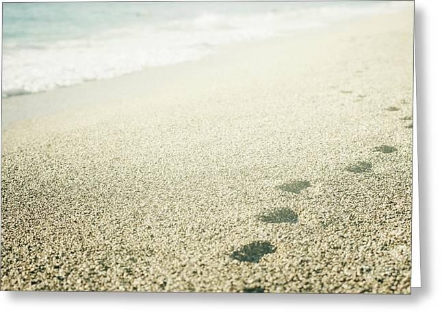 Footprints On The Beach Greeting Card by Jelena Jovanovic