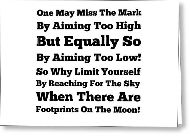 Footprints On The Moon Greeting Card by Firsttees Motivational Artwork