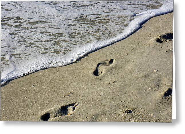Footprints On The Beach Greeting Card by Robb Stan