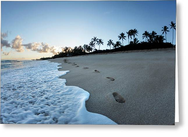 Footsteps To Paradise Greeting Card by Sean Davey