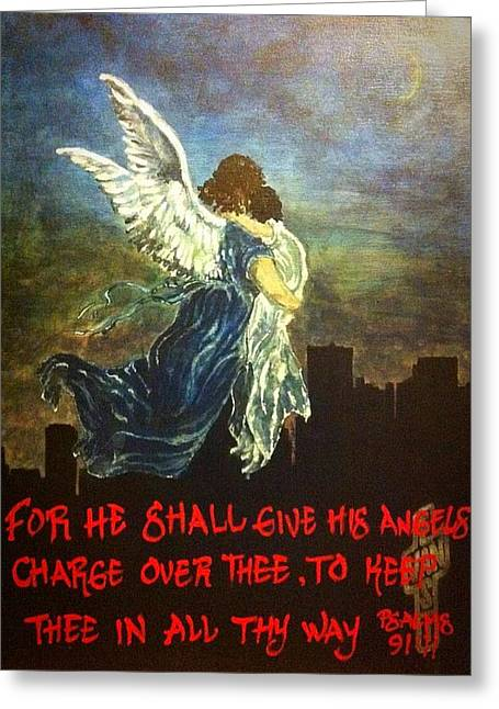 For He Shall Give His Angels Charge Over Thee Greeting Card by Crystal Hayes