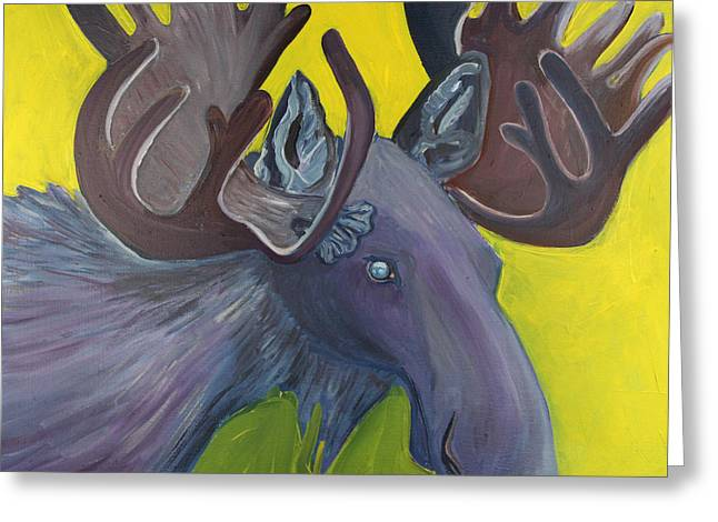 For Purple Mooses Majesty Greeting Card by Amy Reisland-Speer