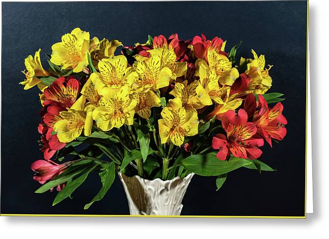 Foral Bouquet Of Red And Yellow Astomelia Greeting Card