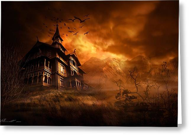 Creepy Greeting Cards - Forbidden Mansion Greeting Card by Svetlana Sewell