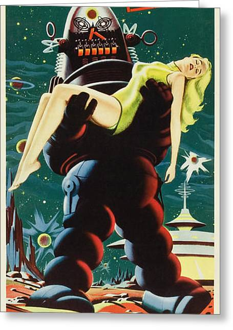 Forbidden Planet In Cinemascope Retro Classic Movie Poster Portraite Greeting Card by R Muirhead Art