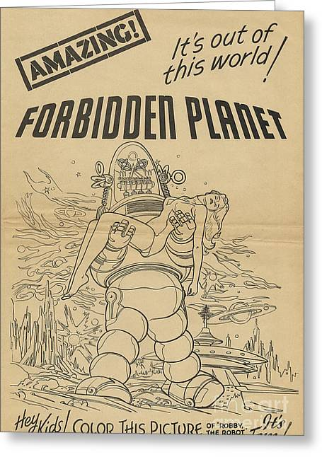 Forbidden Planet In Color This Picture Retro Classic Movie Poster Portraite Greeting Card