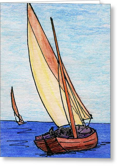 Force Of The Wind On The Sails Greeting Card by R Kyllo