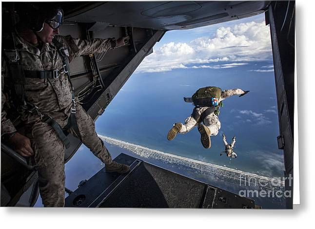 High Altitude Flying Greeting Cards - Force Reconnaissance Marines Conduct Greeting Card by Stocktrek Images