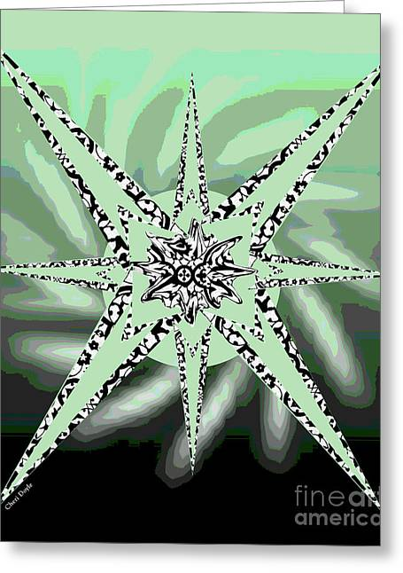 Forceful Movement In Solarized Greens Greeting Card by Cheri Doyle