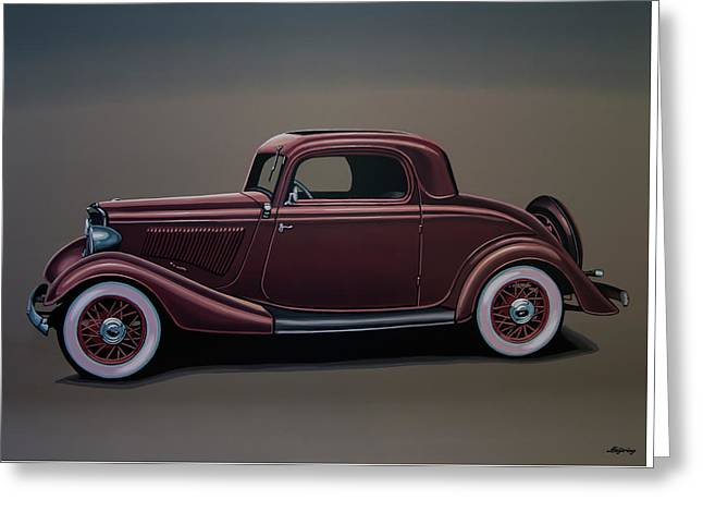 Ford 3 Window Coupe 1933 Painting Greeting Card