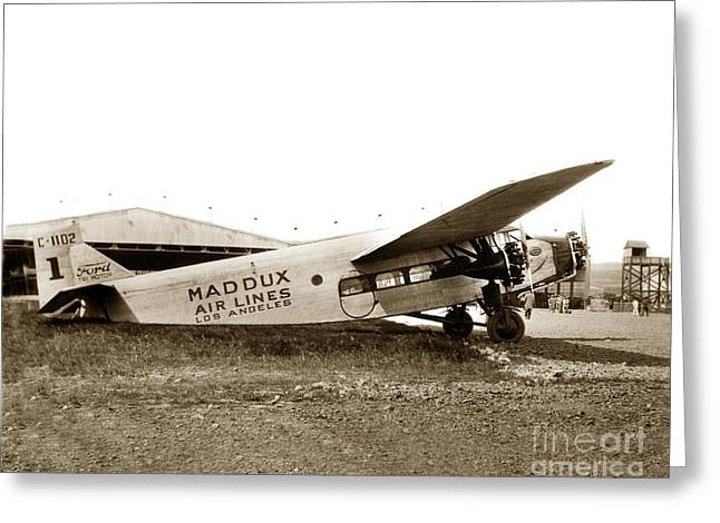 Ford 4-at-a Maddux Air Lines Los Angeles Circa 1928 Greeting Card