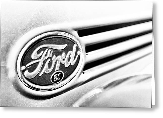 Greeting Card featuring the photograph Ford 85 In Black And White by Caitlyn Grasso