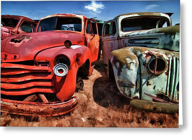 Ford And Chevy Standoff Greeting Card
