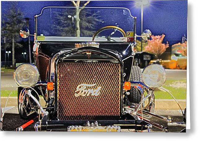 Hdr Photos Greeting Cards - Ford Black Hot Rod Old School Greeting Card by Pictures HDR