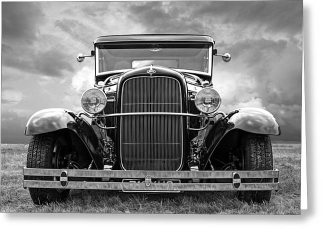 Ford Coupe Head On In Black And White Greeting Card by Gill Billington