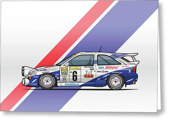 Ford Escort Mk5 Rs Cosworth Group A Rally Monte Carlo 1994 Greeting Card by Monkey Crisis On Mars