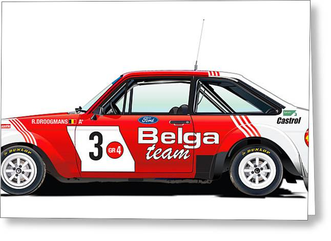 Ford Escort Rs Belga Team Illustration Greeting Card by Alain Jamar