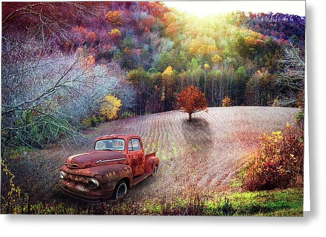Ford In The Field Greeting Card by Debra and Dave Vanderlaan