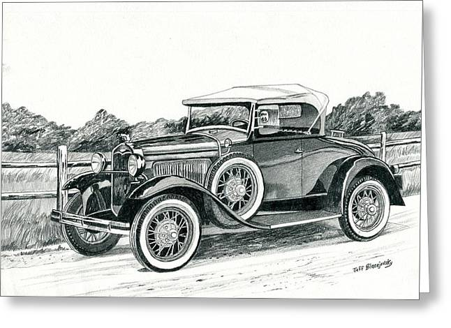 Ford Model A 1930 Greeting Card by Jeff Blazejovsky