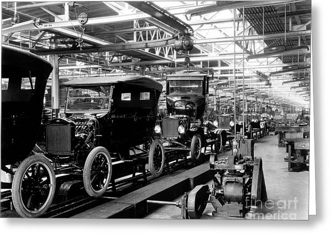 Ford Model T Assembly Line, 1920s Greeting Card