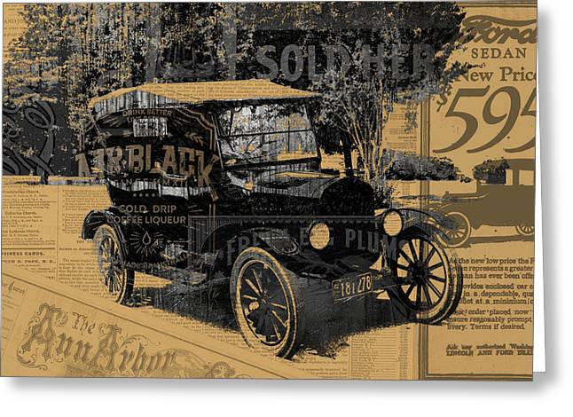 Industrial Mixed Media Greeting Cards - Ford Model T Made Using Found Objects Greeting Card by Design Turnpike