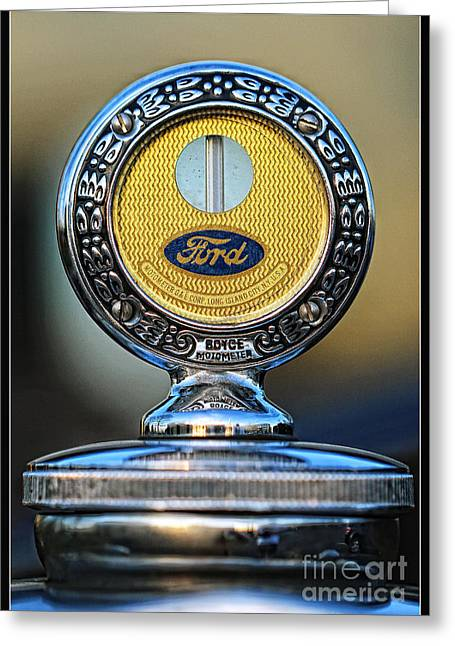 Ford Moto Meter Greeting Card by Anna Sheradon