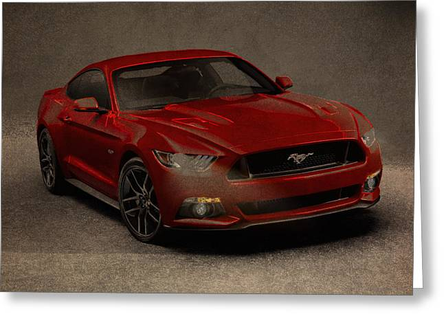 Ford Mustang 2015 Watercolor Pencil Charcoal Sketch On Worn Distressed Canvas Greeting Card by Design Turnpike