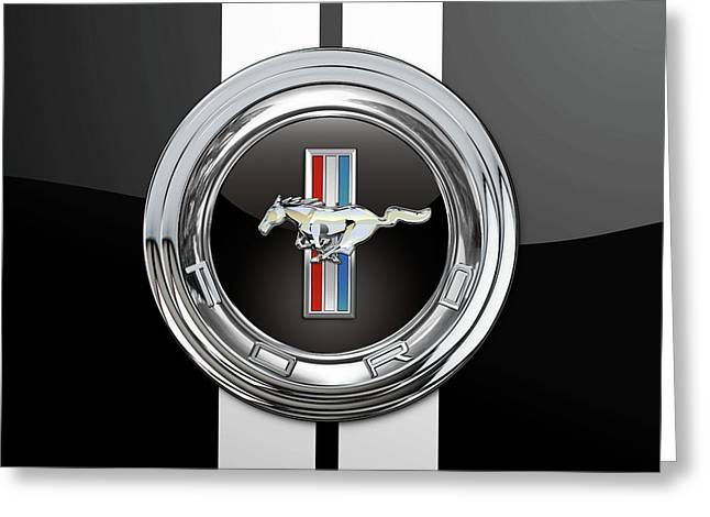Ford Mustang 3 D Badge Special Edition On Black With White Stripes Greeting Card by Serge Averbukh