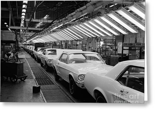 Ford Mustangs On Assembly Line, C.1960s Greeting Card