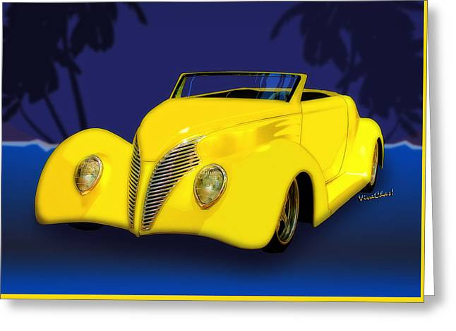 Ford Roadster 1937 In The Palms Greeting Card