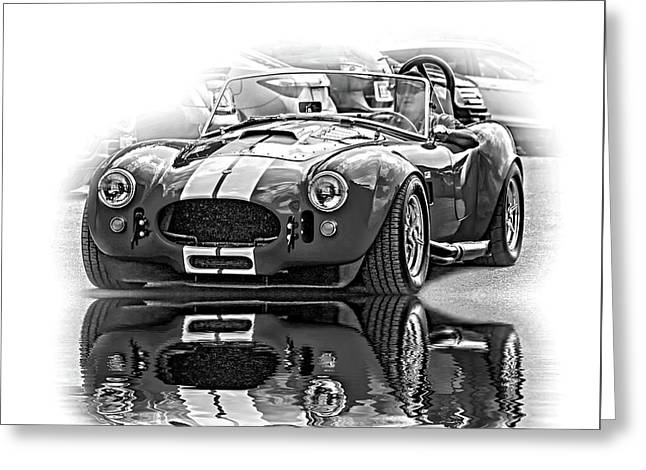 Ford/shelby Ac Cobra - Reflection Bw Greeting Card