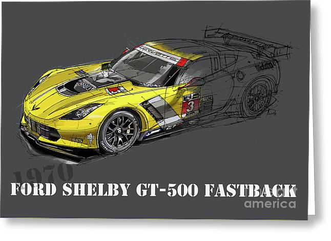 Ford Shelby Gt500 Fastback, Yellow And Black Sketch Greeting Card