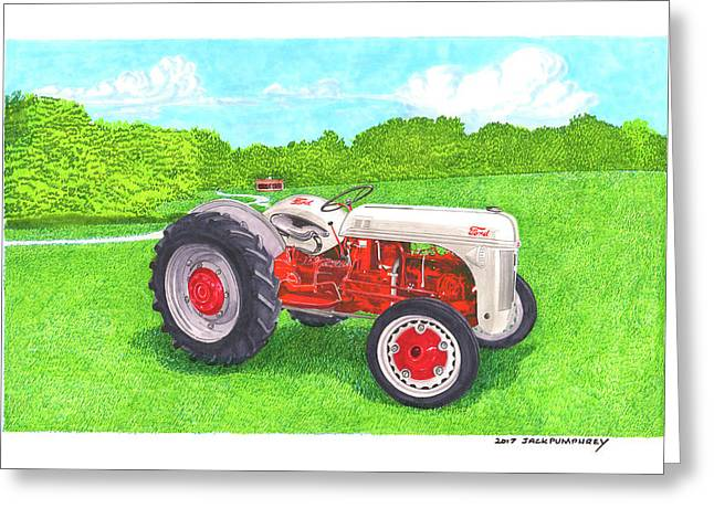 Greeting Card featuring the painting Ford Tractor 1941 by Jack Pumphrey