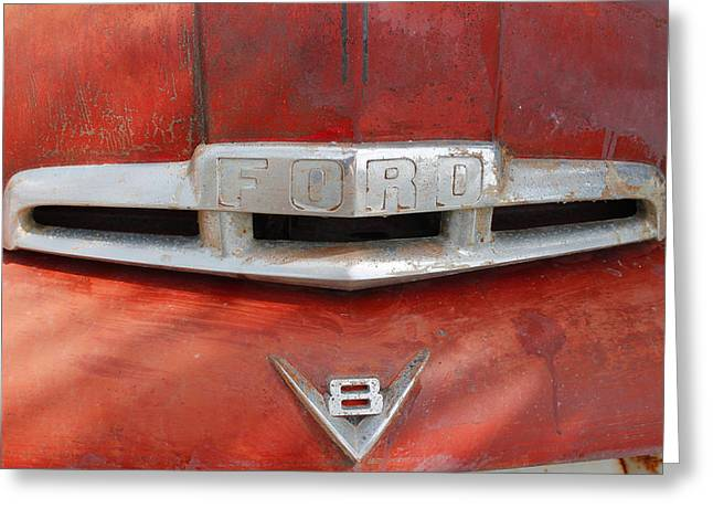 Ford V8 Emblem Greeting Card by Robin Lewis