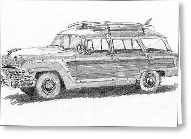 Greeting Card featuring the drawing Ford Wagon Sketch by David King