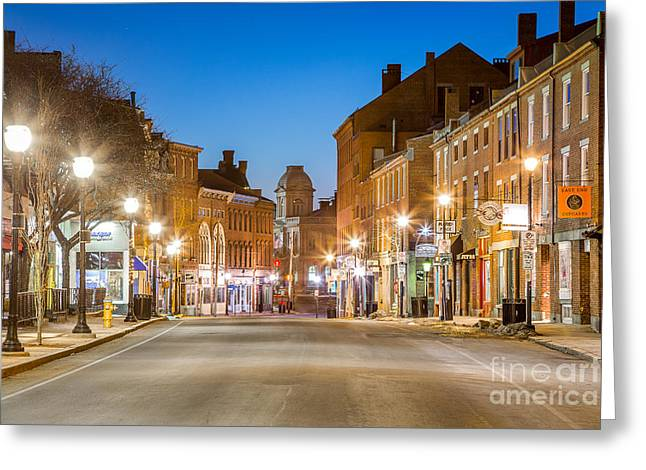 Fore Street Portland Maine Greeting Card by Benjamin Williamson