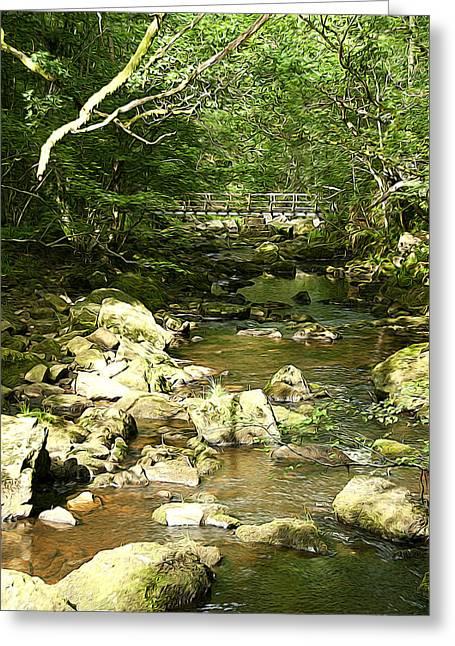 Forest Bridge Greeting Card by Svetlana Sewell