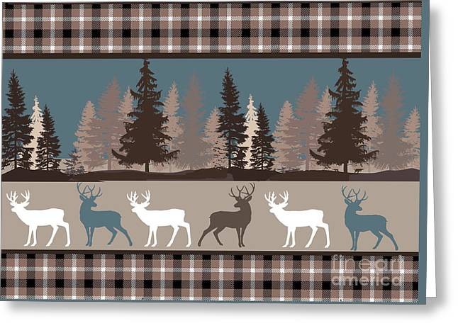 Forest Deer Lodge Plaid II Greeting Card by Mindy Sommers
