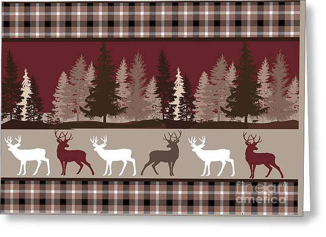 Forest Deer Lodge Plaid Greeting Card