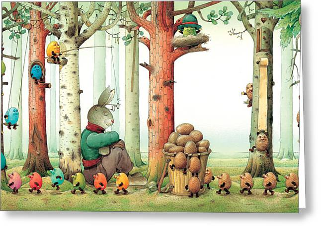 Forest Eggs Greeting Card by Kestutis Kasparavicius