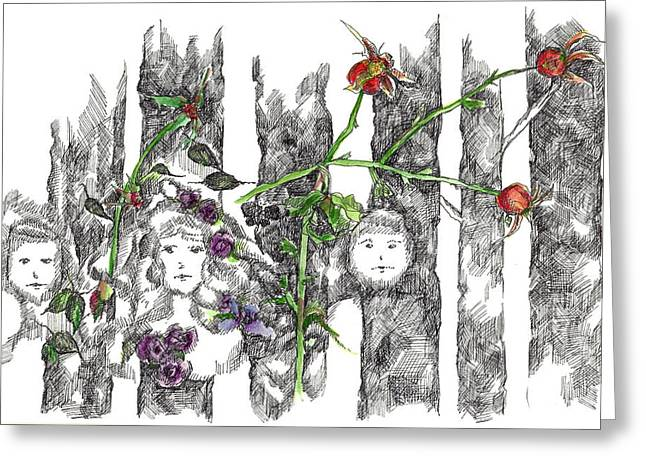 Greeting Card featuring the drawing Forest Faces by Cathie Richardson