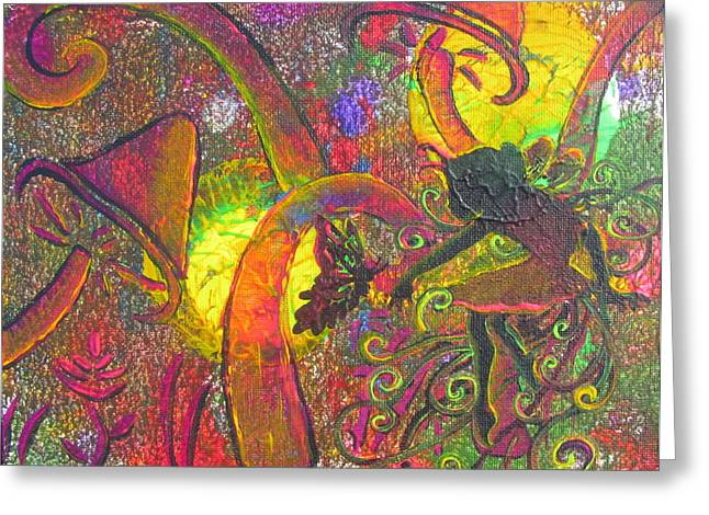 Pixy Greeting Cards - Forest Fairies - 1 Greeting Card by Jacqueline Athmann