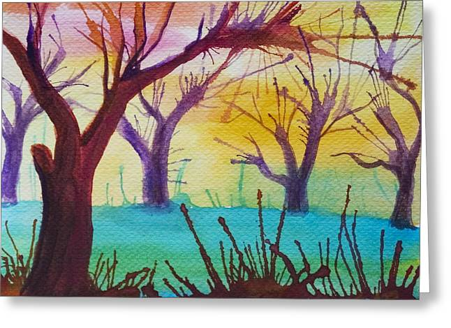 Greeting Card featuring the painting Forest Fanale by Angelique Bowman