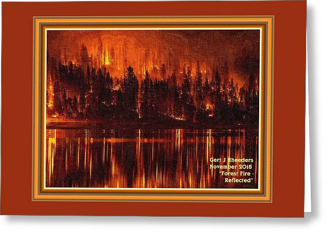 Forest Fire - Reflected H A With Decorative Ornate Printed Frame. Greeting Card by Gert J Rheeders