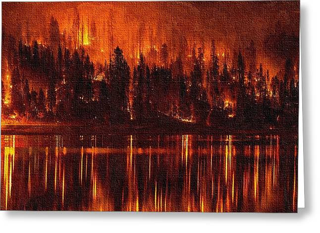 Forest Fire - Reflected H B Greeting Card by Gert J Rheeders