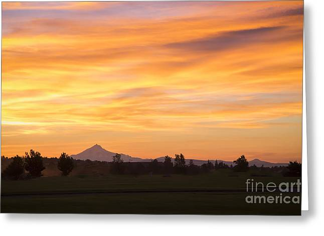 Forest Fire Sunset Over Mount Jefferson Greeting Card