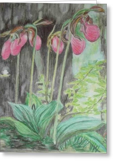 Greeting Card featuring the drawing Forest Flowers by Hilda  Jose Garrancho