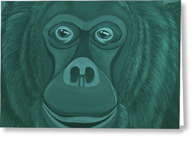 Forest Green Orangutan Greeting Card